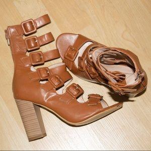 Women's Camel Tan Brown Buckle Block Heels